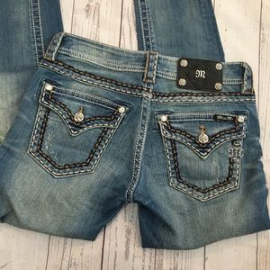 MISS ME Distressed Cuffed Skinny Jeans